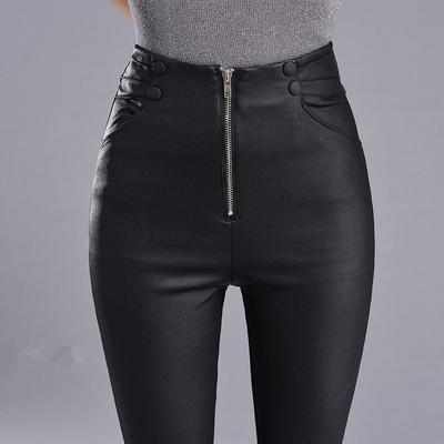 17686e4baf0e5e Autumn Winter Skinny High Waist Leather Leggings Women Slim Plus Velvet PU  Leather Pencil Pants Sexy