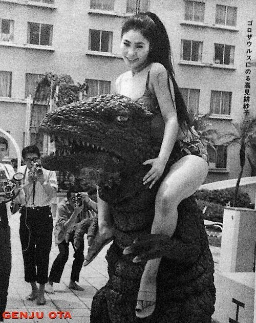 Gorosaurus from KING KONG ESCAPES (1967) takes a friend for a ride.