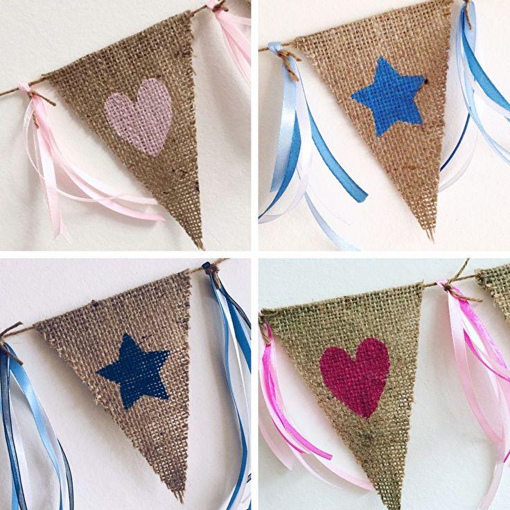 Leuk als kraamcadeau, voor op de babykamer, meidenkamer of jongenskamer!!   Jute vlaggenlijn met ♥/★   Zelf samenstellen  www.evice.nl