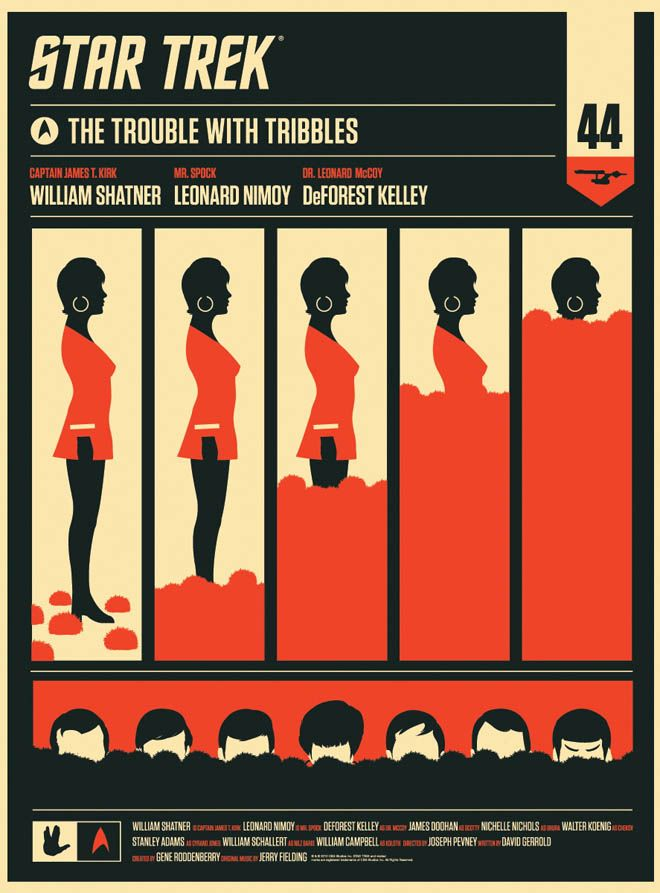 Alamo Drafthouse The Trouble With Tribbles - Uhura poster by Olly Moss