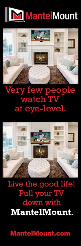 This over-the-fireplace tv mount really has it all. Full-range motion allows you to adjust the TV in any direction, eliminating TV screen glare & neck strain. Mantel Mount's eye-level viewing gives you true comfort & the perfect TV experience every time!