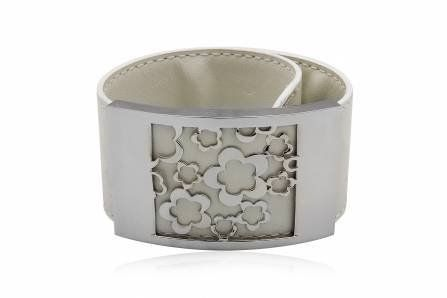 Beta Jewelry Stainless Steel Wide White Leather Bracelet Width 33mm Length 9.95 Inches Beta Jewelry. $14.99