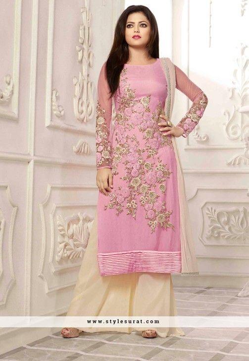 Spectacular Cream And Pink Color Drashti Dhami Salwar Suit