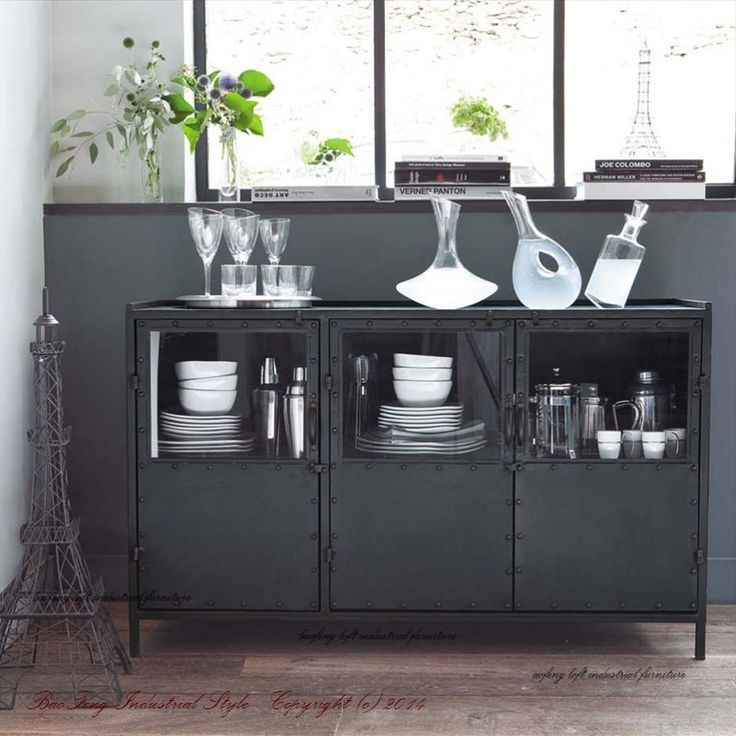 Loft iron furniture industry to do the old lockers Wine French country kitchen sideboard bowl bowl cupboard sideboard