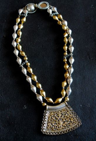 2 tone gold and silver wax beads: NinebyThirty: Pinned by Sujayita
