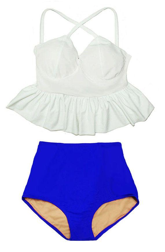 Blanc Long Top Peplum et costume bleu haute Highwaist Highwaisted Shorts bas moderne maillot de bain Bikini baigner bain d'augmentation taille cintrée portent S M