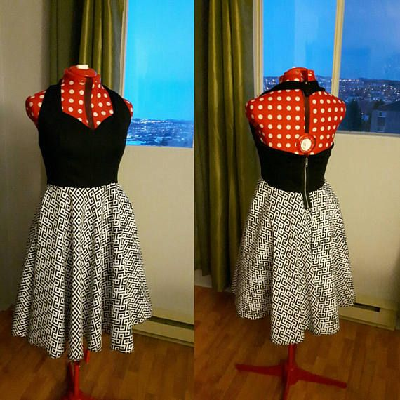 Retrouvez cet article dans ma boutique Etsy https://www.etsy.com/ca-fr/listing/508570532/black-and-white-retro-halter-top-dress