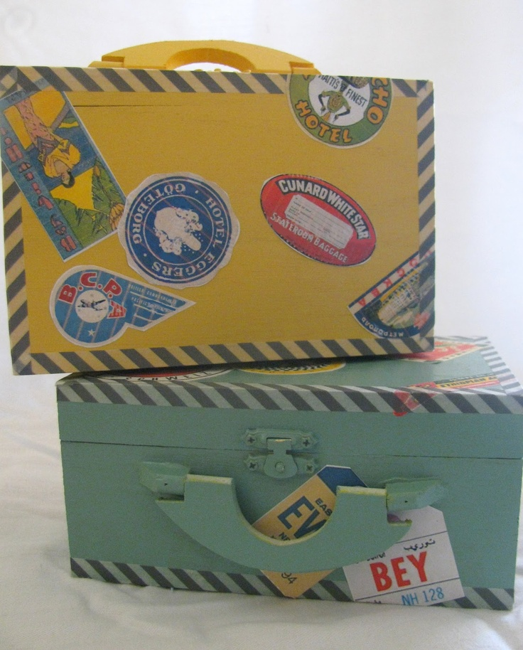 Mini-Suitcase Memory Boxes with vintage travel stickers at {my3monsters.com} #crafts #memories #modpodge