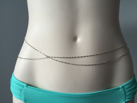 Sterling silver belly chain - Silver chain belt - Silver waist chain  Choose your waist size from the drop down menu (do not add an allowance, we will