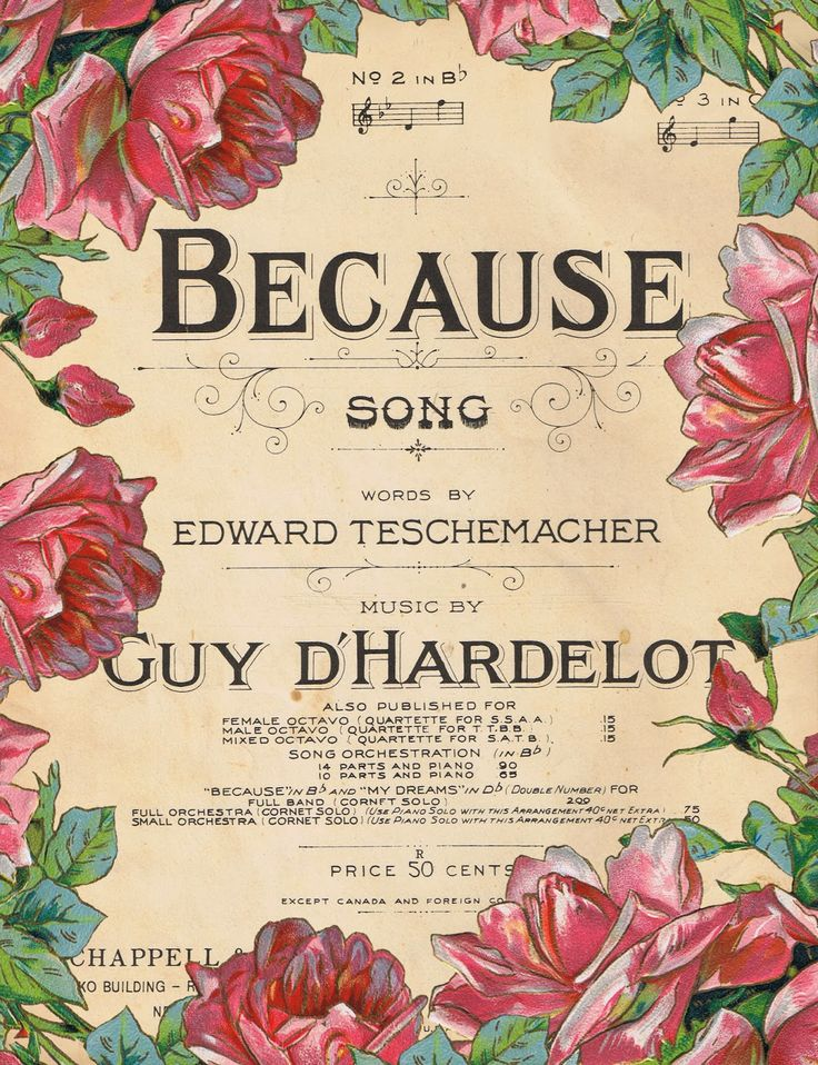 """""""Because"""" sheet music title page, framed by pink roses."""