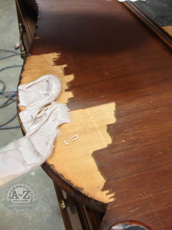 How to repair damaged wood veneer using bondo (typically used for auto collision repair) or 3M All Purpose Filler.