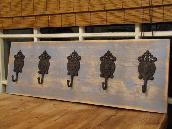 4 feet long Coat rack CAST IRON hooks on pine by TheCharmingWall, $70.00