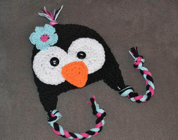 penguin hat girls penguin hat crochet by VioletandSassafras