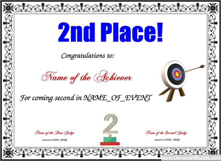 1st place certificate template free