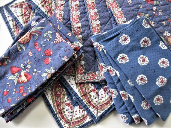 Mixed Lot Of Pierre Deux Blue Placemats And Napkins 7 Quilted Etsy Blue Placemats French Country Linen Pierre Deux