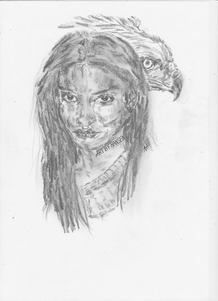 Native.   Girl & Hawk