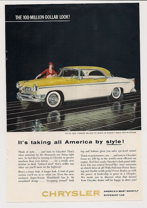 1955 Chrysler  Car Advertisement  1955 by TexasTangledThreads, $10.00