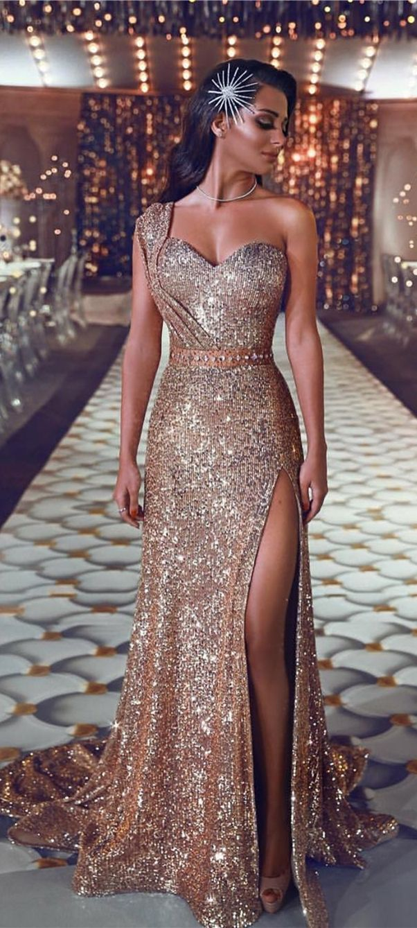 Sheath OneShoulder Sweep Train Champagne Sequined Prom Dress with