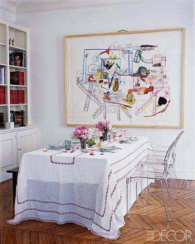 Colorful art takes center stage in Cordelia de Castellane's dining room.
