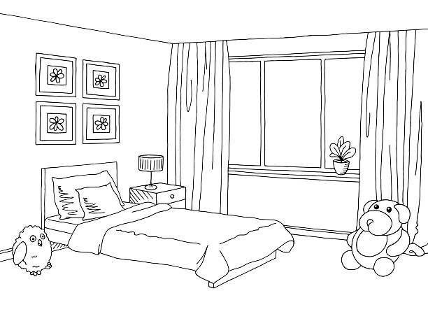 Kids Bedroom Clipart Black And White Modern Home Decor