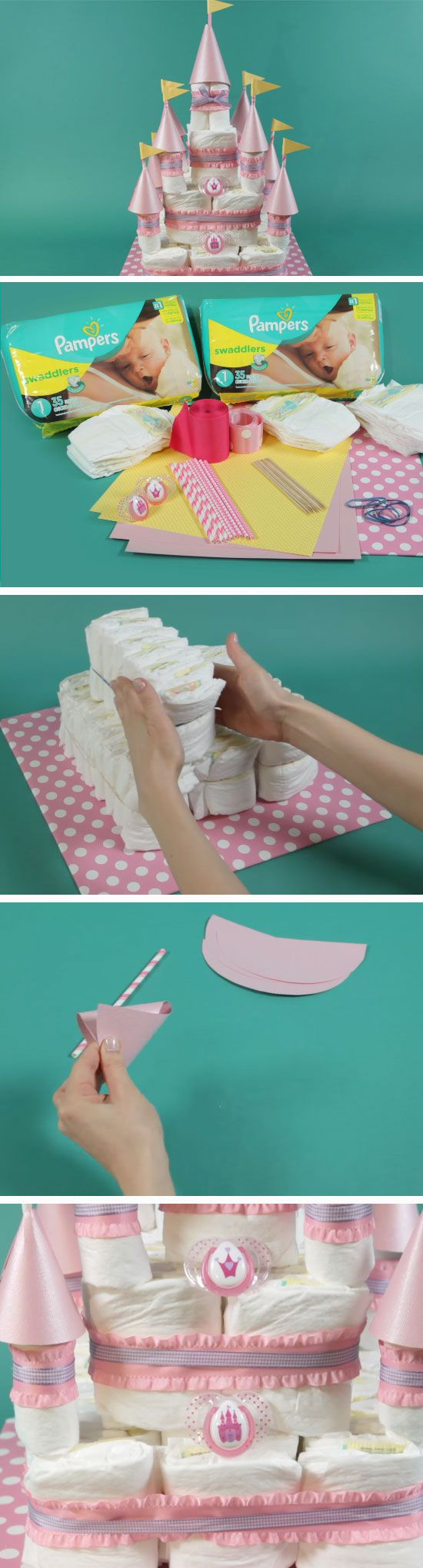 Castle Diaper Cake | DIY Baby Shower Ideas for a Girl