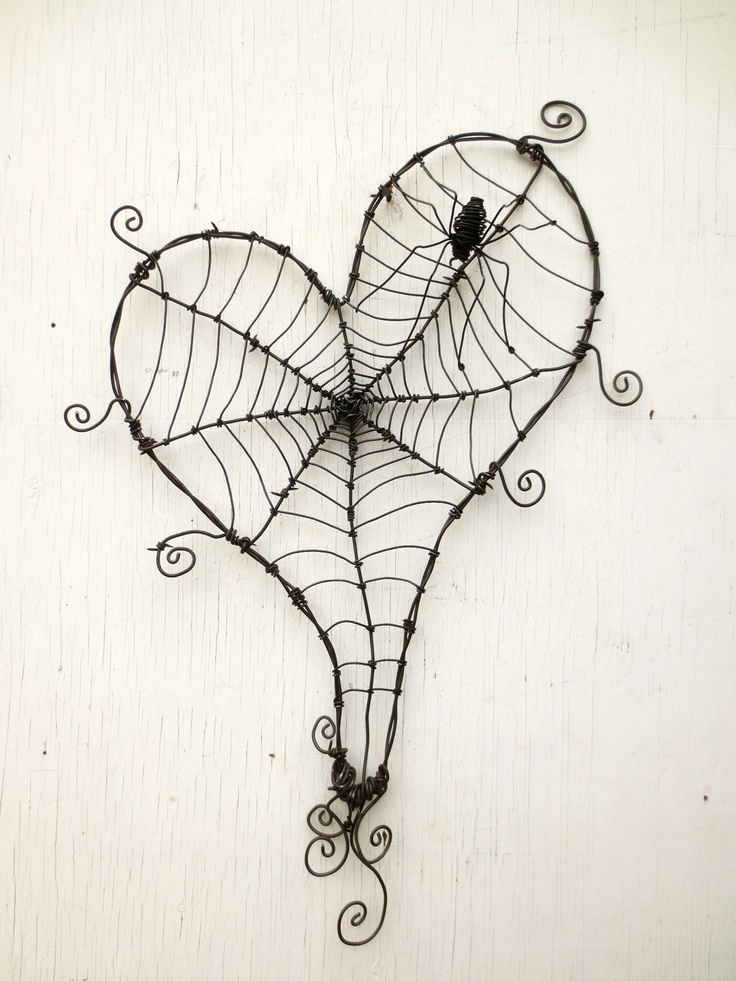 Wonky Barbed Wire Heart With Spider Web And Spider