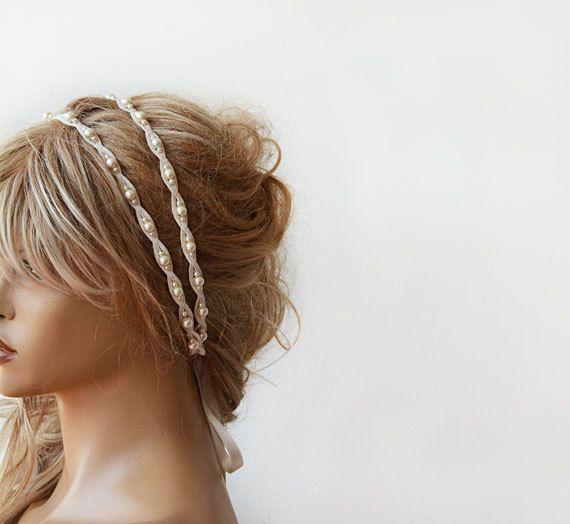 Lace Pearl Wedding Headband Bridal Weddings Hair Double