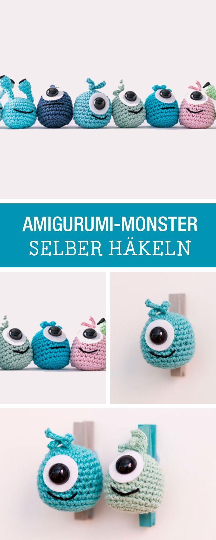 DIY-Anleitung: Amigurumi-Monster selbst häkeln, kleine Monster für großen Spielspaß / DIY tutorial: crocheting amigurumi monster, children's toy via http://DaWanda.com