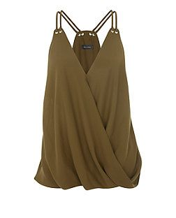 Khaki Wrap Front Eyelet Trim Cami Top | New Look