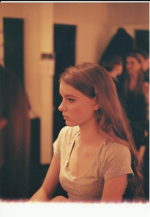 Backstage of fashion show, candid model. 35mm with Minolta x 570