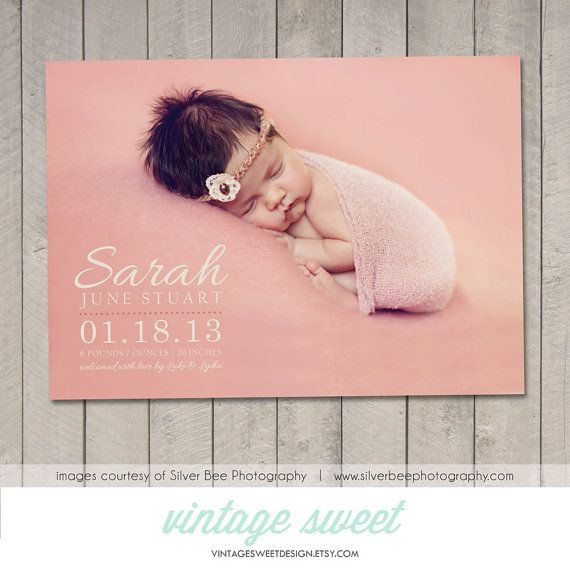 Birth Announcement Card / Magnet Printable by vintagesweetdesign, $12.00
