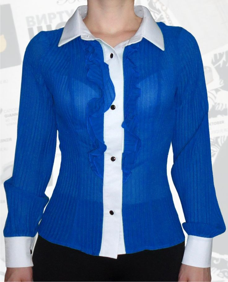 39$ Нарядная блузка для полных женщин и девушек из гофрированного синего шифона Артикул 524, р50-64
