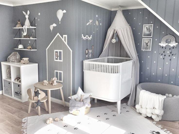 Inspiration von Instagram – graue und weiße Kinderzimmer für Jungen, skandinavisches Styl