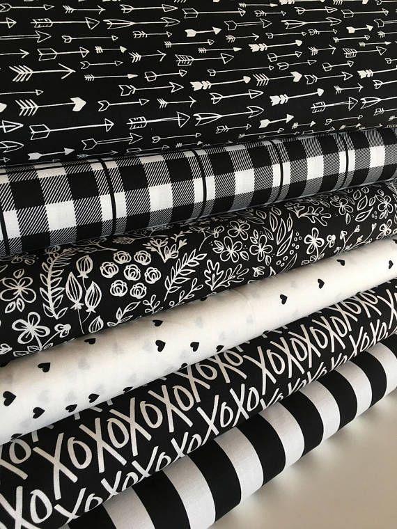 Black White Fabric Modern Nursery Quilting