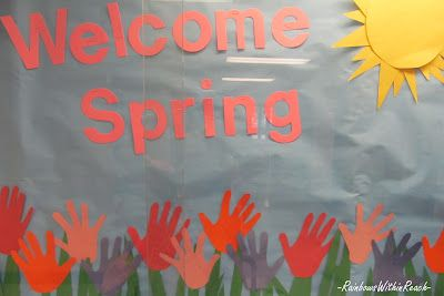 Handprint bulletin board for Spring
