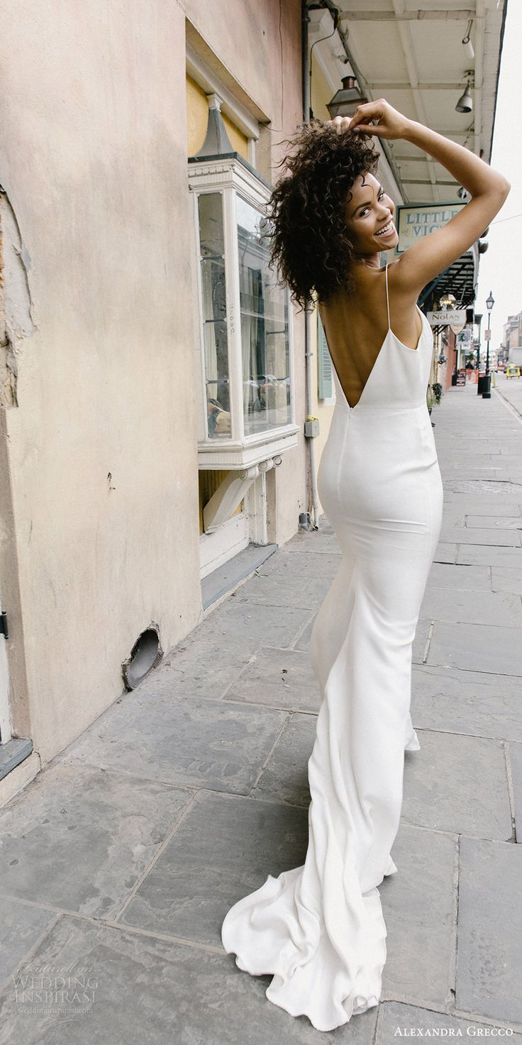 alexandra grecco fall 2017 bridal sleeveless spaghetti straps v neck trumpet wedding dress unembellished (lewis) bv train -- Alexandra Grecco Fall 2017 Wedding Dresses