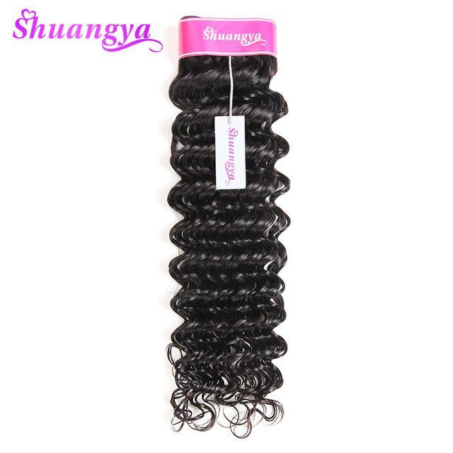 "shuangya hair Malaysian hair weave bundles deep wave human hair extension 10""-28"" natural black non-remy hair thick and full"