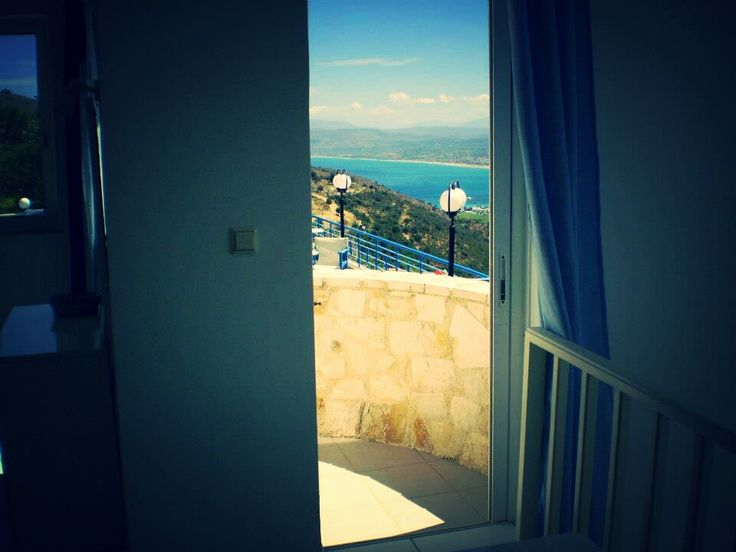 View of Almiros Bay from a room, of Marika Apartments in Exopoli,Crete