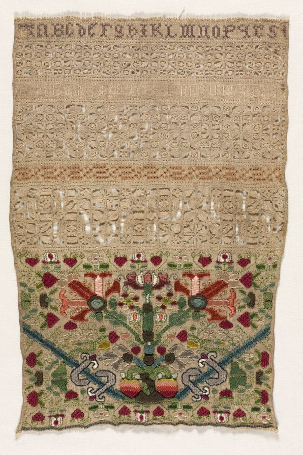 "English Sampler ~ 1600s ~ England ~ 17th century ~ embroidery; linen and silk on linen ~ Cleveland Museum of Art ~ below: ""ABCdeFgHIKLMNOPQRSt."""