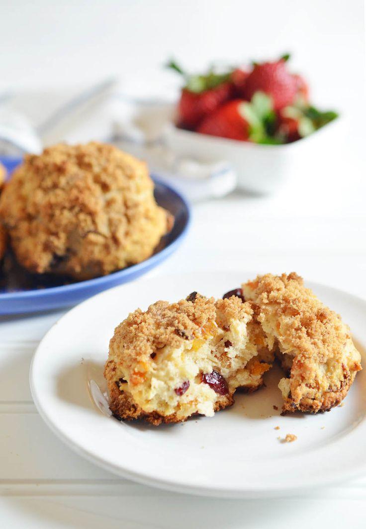 Drop Biscuit Scones with Apricots & Cranberries