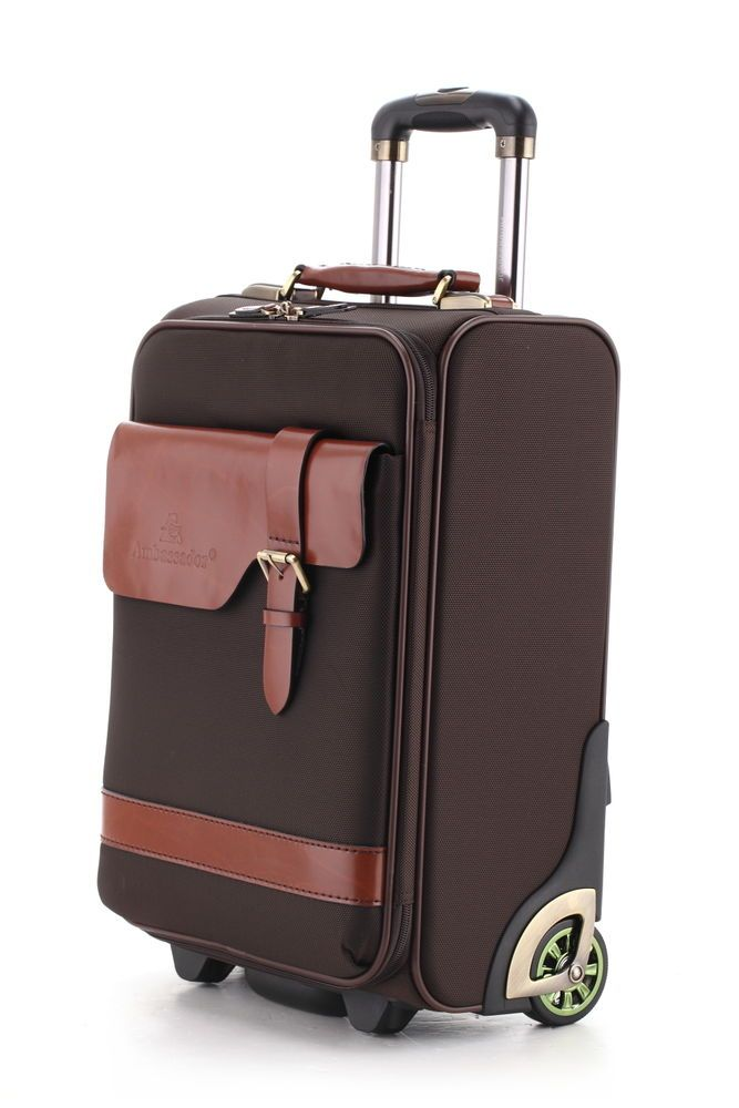 Ambassador Vintage Top Grain Leather Carry On Luggage Travel Trolley Suitcase  #Ambassador
