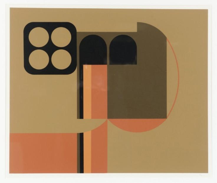 Lot 115: Manuel Felguerez abstract serigraph with circles. Estimate: $300-$500.