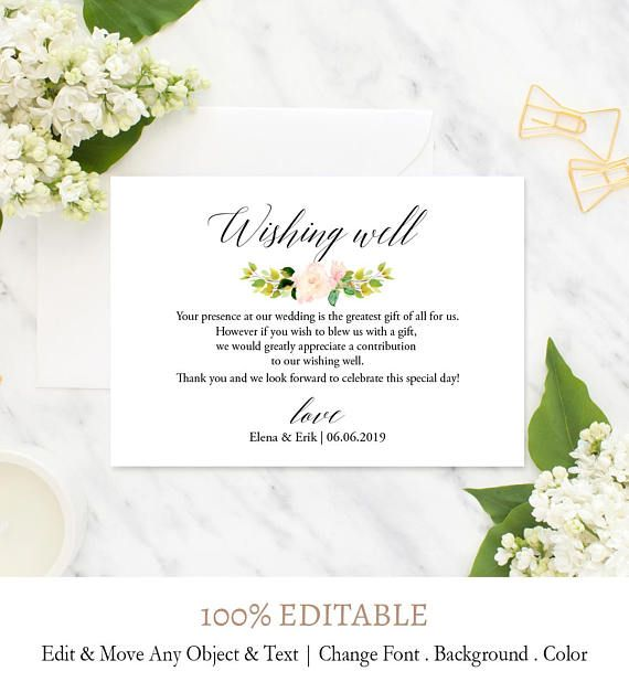 Vintage Floral Well Wish Printable Card Wedding Wishing Well Insert Wishes Template In Lieu Of G Diy Wishing Wells Custom Wedding Cards Bridal Shower Wishes