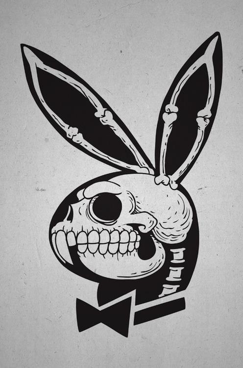 Playboy bunny skull by Crânio Camisetas