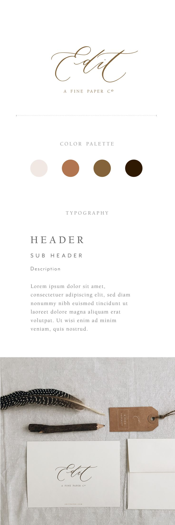 Edit Paper Co. branding by Andrea Crouse for Rare Bird Font Foundry using Specimen II in logo. Just beautiful!