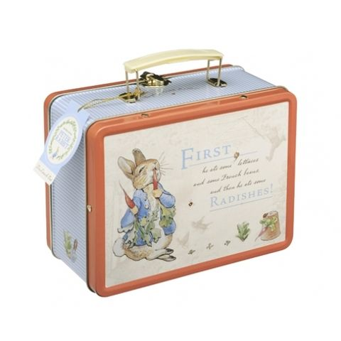 Beatrix Potter's classic Peter Rabbit lunch box tin. Not just packed lunches. Turn it into a pencil case, sewing kits or memento box. Blank Clothing store for more great gift ideas