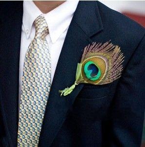 Pauw veer corsage, bruidegom, groom feather