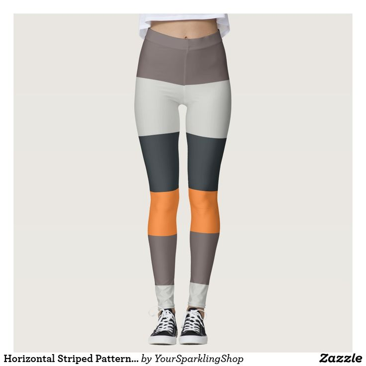 Horizontal Striped Pattern Orange Sand Charcoal  #leggings