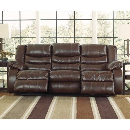 Ashley Linebacker Leather Reclining Sofa in Espresso Image 2 of 4