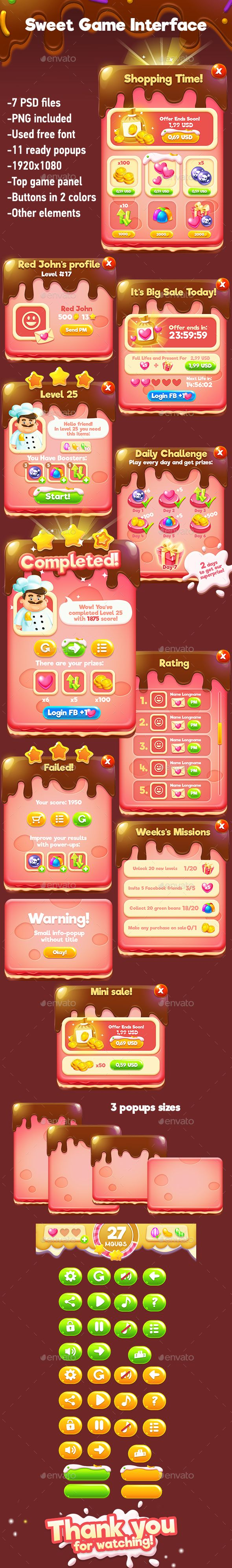 Sweet Match-3 Game Interface - User Interfaces Game Assets